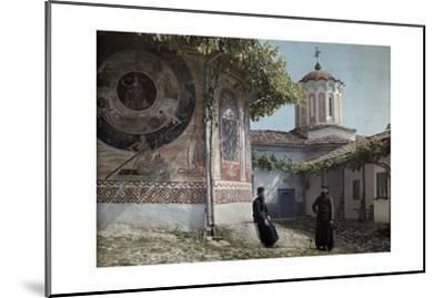 Preobrajenski Monastery Monks Rest Outside Church Adorned with Murals-Wilhelm Tobien-Mounted Photographic Print