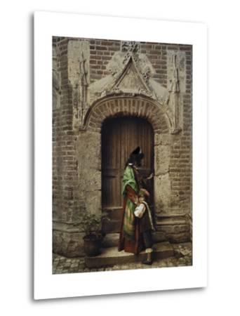 A Woman and Child Use the Yard Door to Exit the Castle-Gervais Courtellemont-Metal Print