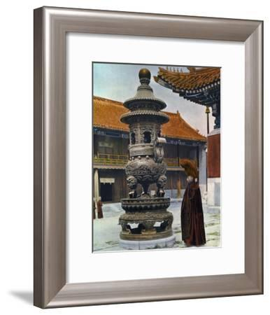 Painting of a Monk in Ceremonial Robes Beside a Bronze Incense Burner-H. C. and J. H. and Deng White and Bao-Ling-Framed Photographic Print