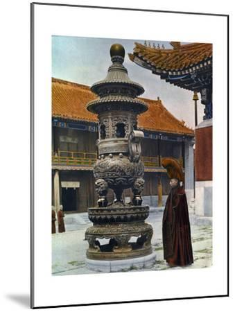 Painting of a Monk in Ceremonial Robes Beside a Bronze Incense Burner-H. C. and J. H. and Deng White and Bao-Ling-Mounted Photographic Print