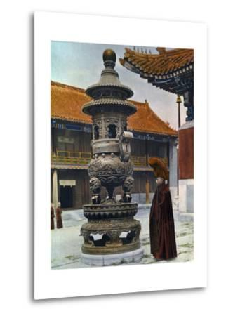 Painting of a Monk in Ceremonial Robes Beside a Bronze Incense Burner-H. C. and J. H. and Deng White and Bao-Ling-Metal Print