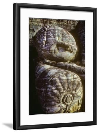 The Head of the Gal Vihara Reclining Buddha Statue at Polonnaruwa, Sri Lanka-David Hiser-Framed Photographic Print