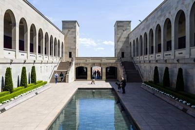 Cloisters Overlook the Memorial Courtyard, Eternal Flame and Memorial Pool-Jason Edwards-Framed Photographic Print