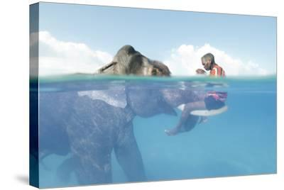 A Mahout, Sits on the Tusks of Rajan, the Elephant, in the Andaman Islands-Cesare Naldi-Stretched Canvas Print
