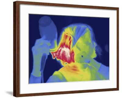 Thermal Image of a Woman Blow Drying Her Hair-Tyrone Turner-Framed Photographic Print