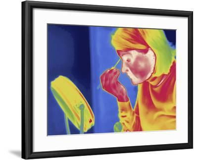 Thermal Image of a Woman Applying Makeup-Tyrone Turner-Framed Photographic Print