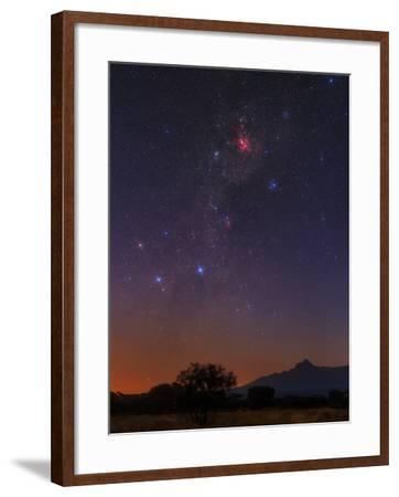 The Milky Way, Carina Nebula, Constellation Crux at Dawn over Mount Kilimanjaro and Mawenzi Peak-Babak Tafreshi-Framed Photographic Print