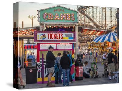 Rides and Ticket Booths at Wildwood Beach at Twilight-Richard Nowitz-Stretched Canvas Print