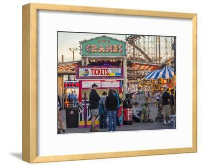 Rides and Ticket Booths at Wildwood Beach at Twilight-Richard Nowitz-Framed Photographic Print