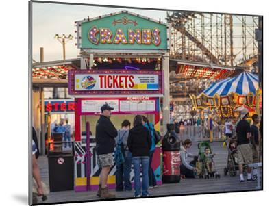 Rides and Ticket Booths at Wildwood Beach at Twilight-Richard Nowitz-Mounted Photographic Print