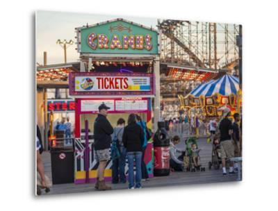 Rides and Ticket Booths at Wildwood Beach at Twilight-Richard Nowitz-Metal Print