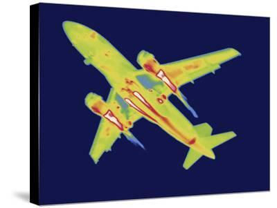 Thermal Image of an Airplane Landing at Reagan W. National Airport-Tyrone Turner-Stretched Canvas Print