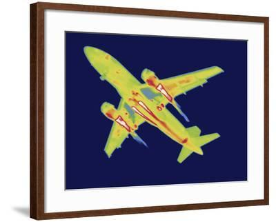 Thermal Image of an Airplane Landing at Reagan W. National Airport-Tyrone Turner-Framed Photographic Print