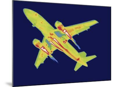 Thermal Image of an Airplane Landing at Reagan W. National Airport-Tyrone Turner-Mounted Photographic Print