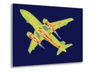 Thermal Image of an Airplane Landing at Reagan W. National Airport-Tyrone Turner-Metal Print