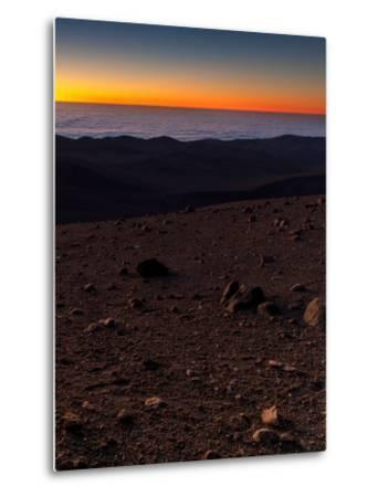 Evening Twilight over a Barren and Martian-Looking Desert Landscape-Babak Tafreshi-Metal Print