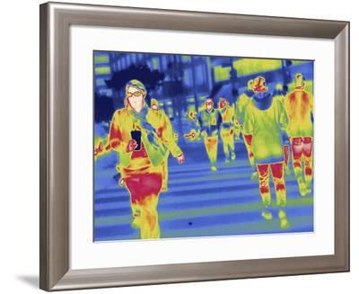 Thermal Image of People in a Crosswalk in Washington D.C-Tyrone Turner-Framed Photographic Print
