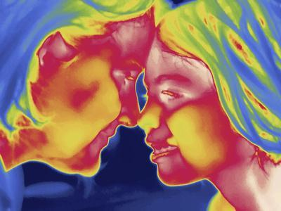 Thermal Image of a Woman and Girl-Tyrone Turner-Framed Photographic Print