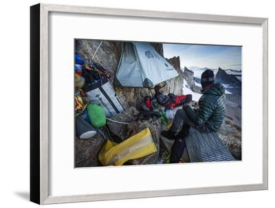 Expedition Team Members Try to Stay Warm on a Ledge of Bertha's Tower,1,200 Feet Above the Ground-Cory Richards-Framed Photographic Print