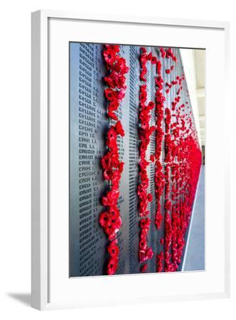 The Roll of Honour and the Names of Fallen Soldiers are Remembered with Bright Red Poppies-Jason Edwards-Framed Photographic Print
