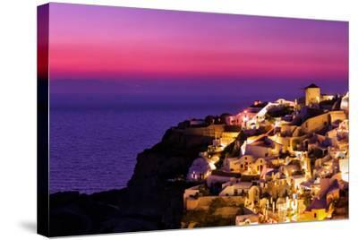 Dusk over the Aegean Sea and a White-Washed, Cliff-Top Town on Santorini Island-Babak Tafreshi-Stretched Canvas Print
