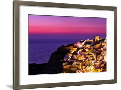 Dusk over the Aegean Sea and a White-Washed, Cliff-Top Town on Santorini Island-Babak Tafreshi-Framed Photographic Print