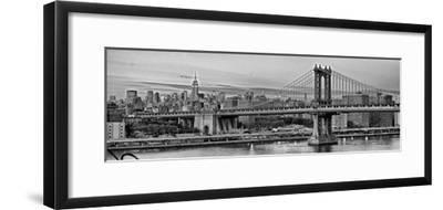Night View of the Manhattan Bridge, the Empire State Building and the East River-Kike Calvo-Framed Photographic Print