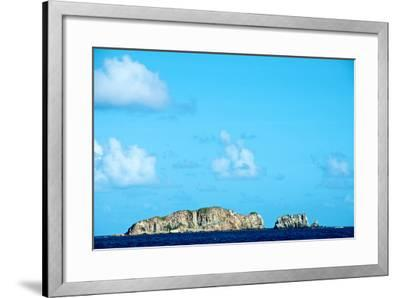 Blue Sky with Puffy Clouds over Rock Formations Off the Coast of the British Virgin Islands-Heather Perry-Framed Photographic Print