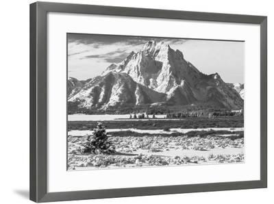 A Black and White Photograph of Mount Moran in the Teton Mountains in Winter-Greg Winston-Framed Photographic Print