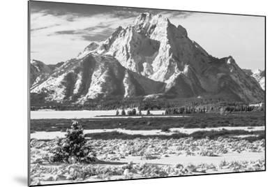 A Black and White Photograph of Mount Moran in the Teton Mountains in Winter-Greg Winston-Mounted Photographic Print