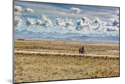 A Man Cycles with a Family Member on the Back of His Bicycle Between La Paz and Tiwanaku-Alex Saberi-Mounted Photographic Print
