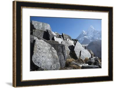 Mani Stones Inscribed with an Ancient Tibetan Mantra in the Khumbu Valley-Alex Treadway-Framed Photographic Print