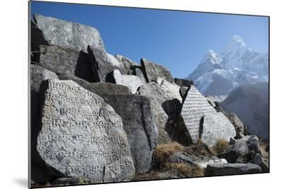 Mani Stones Inscribed with an Ancient Tibetan Mantra in the Khumbu Valley-Alex Treadway-Mounted Photographic Print