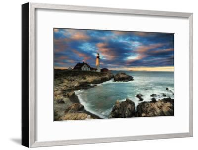 A Dramatic Sky at Sunset over the Portland Head Light-Robbie George-Framed Photographic Print