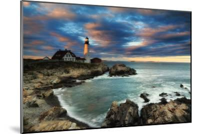 A Dramatic Sky at Sunset over the Portland Head Light-Robbie George-Mounted Photographic Print