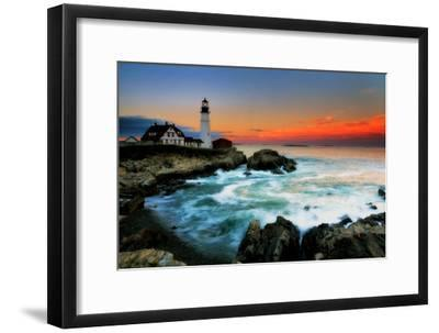 The Sun Setting Behind the Portland Head Light as Waves Surge onto the Rocky Shore-Robbie George-Framed Photographic Print