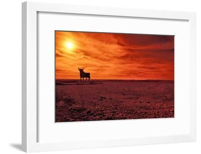 Toro De Osborne, an Unofficial National Symbol of Spain, First Created in 1956 by Manolo Prieto-Kike Calvo-Framed Premium Photographic Print