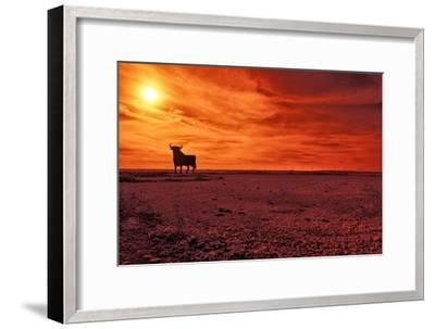 Toro De Osborne, an Unofficial National Symbol of Spain, First Created in 1956 by Manolo Prieto-Kike Calvo-Framed Photographic Print