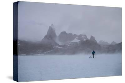 A Mountaineer Drags a Sled across the Antarctic Ice for a Circumnavigation of the Wohlthat Mountain-Cory Richards-Stretched Canvas Print