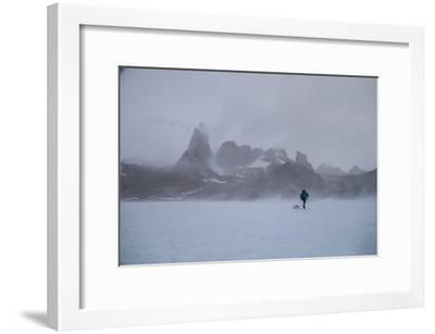 A Mountaineer Drags a Sled across the Antarctic Ice for a Circumnavigation of the Wohlthat Mountain-Cory Richards-Framed Photographic Print