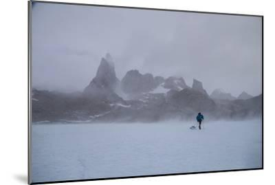 A Mountaineer Drags a Sled across the Antarctic Ice for a Circumnavigation of the Wohlthat Mountain-Cory Richards-Mounted Photographic Print