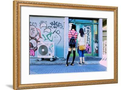 Young Women Window Shop on Harajuku's Cat Street-Heather Perry-Framed Photographic Print