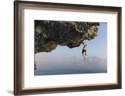 A Climber Dangles from an Overhang-Jimmy Chin-Framed Photographic Print