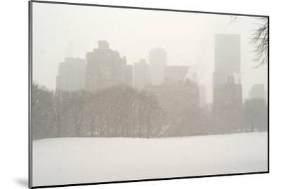 Manhattan Buildings and Trees in Central Park During a Blizzard-Kike Calvo-Mounted Photographic Print