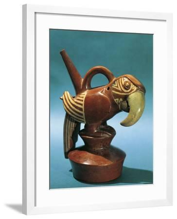 Zoomorphic Polychrome Terracotta Vessel in Shape of Parrot, Vicus Culture, Circa 100 B.C.--Framed Photographic Print