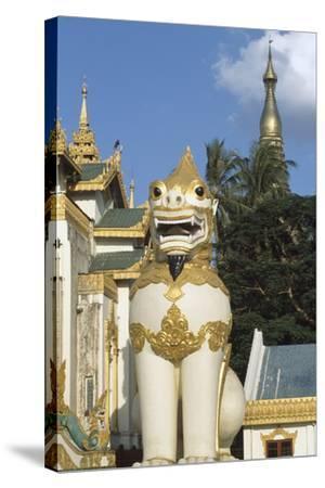 Zoomorphic Statue at Shwedagon Pagoda in Yangon or Rangoon, Myanmar--Stretched Canvas Print