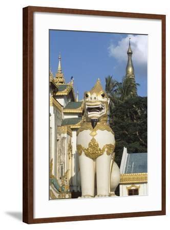 Zoomorphic Statue at Shwedagon Pagoda in Yangon or Rangoon, Myanmar--Framed Photographic Print