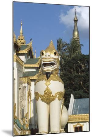 Zoomorphic Statue at Shwedagon Pagoda in Yangon or Rangoon, Myanmar--Mounted Photographic Print
