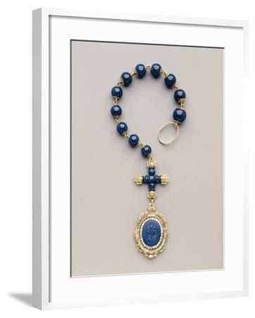Yellow and Red Gold Rosary with Diamonds and Lapis Lazuli--Framed Photographic Print