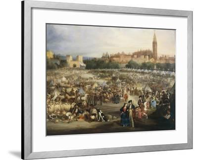 The Fair of Seville, the Cathedral and Giralda in Background-Andrea Appiani-Framed Giclee Print